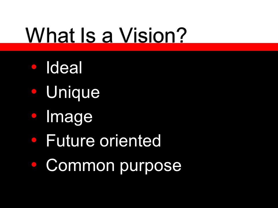 What Is a Vision? Ideal Unique Image Future oriented Common purpose