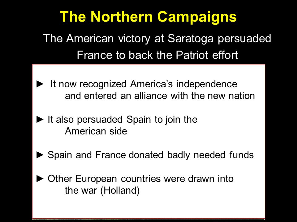 The American victory at Saratoga persuaded France to back the Patriot effort ► It now recognized America's independence and entered an alliance with the new nation ► It also persuaded Spain to join the American side ► Spain and France donated badly needed funds ► Other European countries were drawn into the war (Holland)