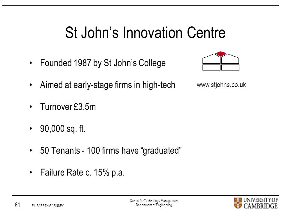 Institute for Manufacturing 61 ELIZABETH GARNSEY Centre for Technology Management Department of Engineering St John's Innovation Centre Founded 1987 by St John's College Aimed at early-stage firms in high-tech Turnover £3.5m 90,000 sq.