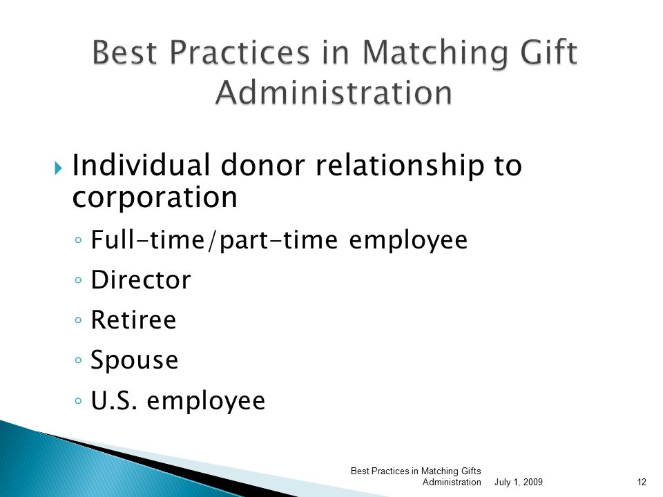  Individual donor relationship to corporation ◦ Full-time/part-time employee ◦ Director ◦ Retiree ◦ Spouse ◦ U.S.
