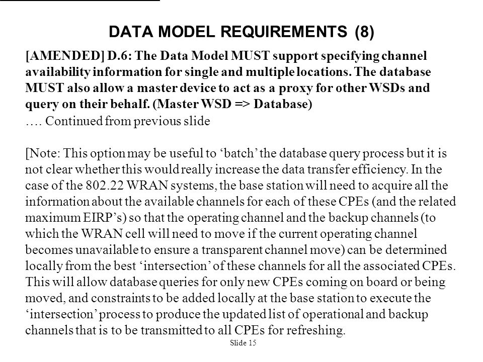 Slide 15 DATA MODEL REQUIREMENTS (8) [AMENDED] D.6: The Data Model MUST support specifying channel availability information for single and multiple lo