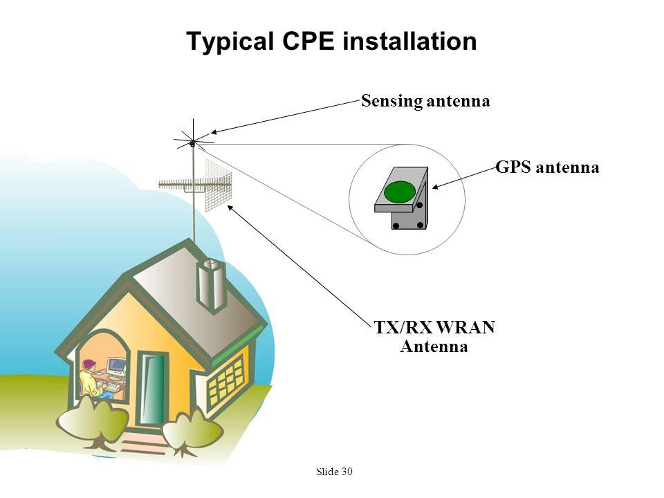 Slide 30 Typical CPE installation Sensing antenna GPS antenna TX/RX WRAN Antenna