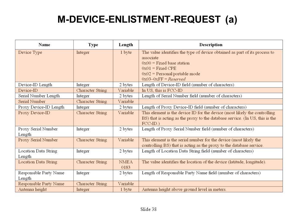 Slide 38 M-DEVICE-ENLISTMENT-REQUEST (a)