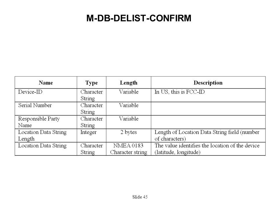Slide 45 M-DB-DELIST-CONFIRM