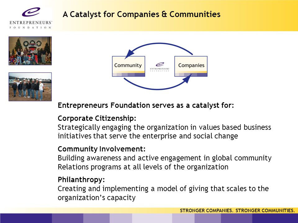STRONGER COMPANIES. STRONGER COMMUNITIES. Working with EF