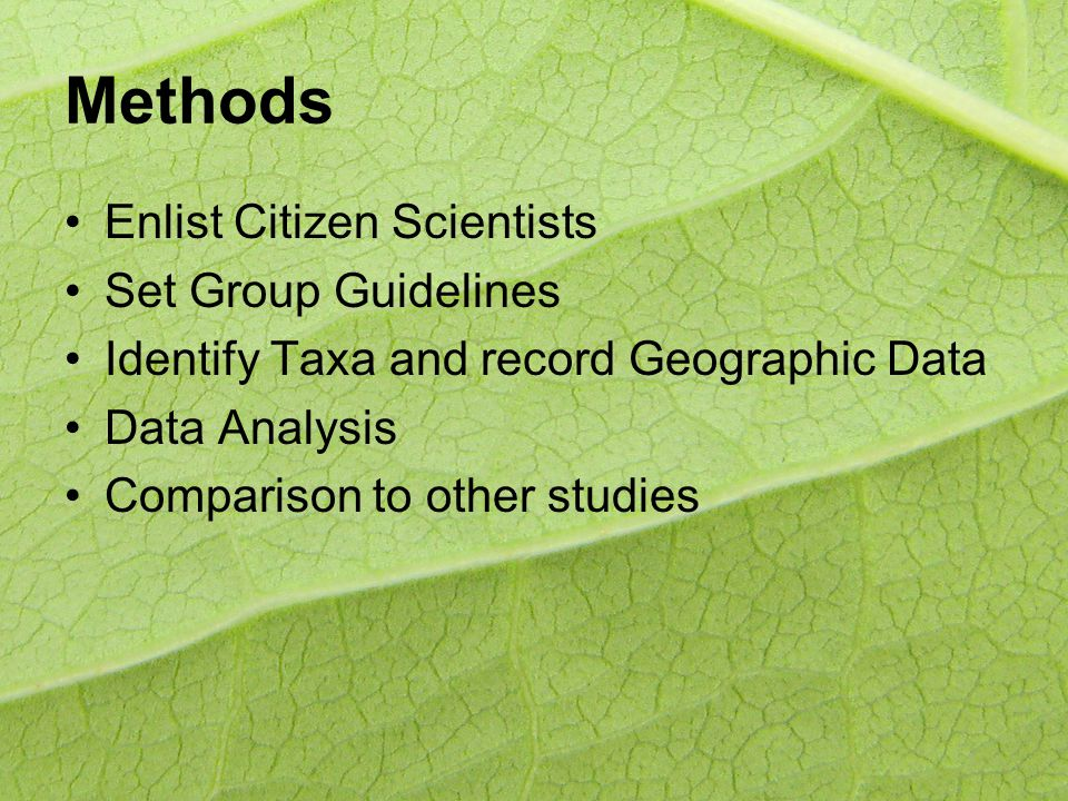 Methods Enlist Citizen Scientists Set Group Guidelines Identify Taxa and record Geographic Data Data Analysis Comparison to other studies
