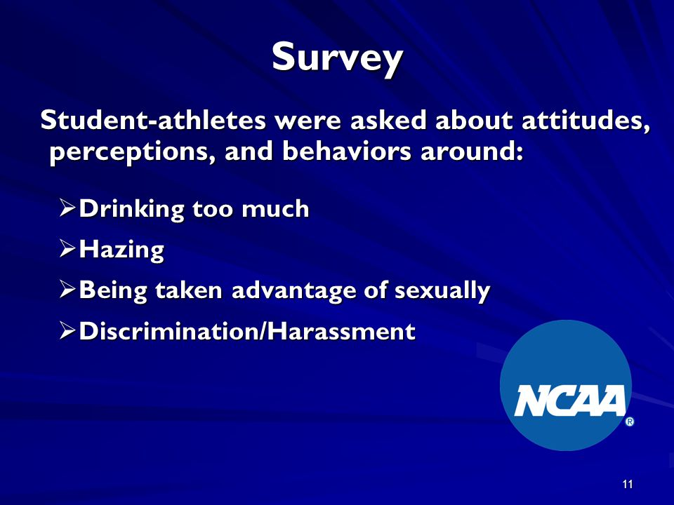 11 Survey Student-athletes were asked about attitudes, perceptions, and behaviors around: Student-athletes were asked about attitudes, perceptions, an