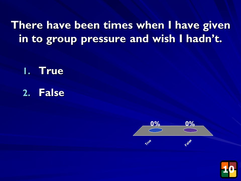 33 There have been times when I have given in to group pressure and wish I hadn't. 1. True 2. False 10