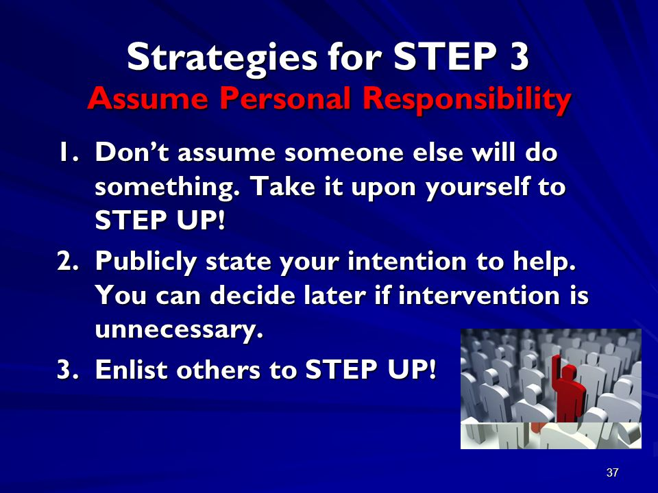 37 Strategies for STEP 3 Assume Personal Responsibility 1.Don't assume someone else will do something.