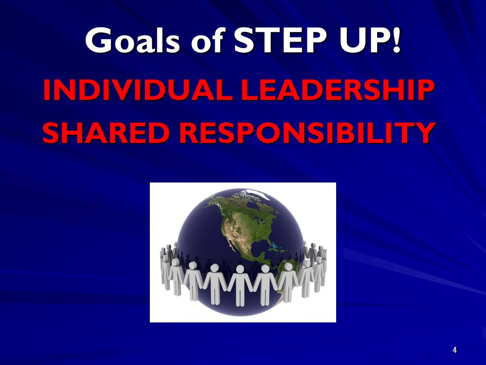 4 Goals of STEP UP! INDIVIDUAL LEADERSHIP SHARED RESPONSIBILITY