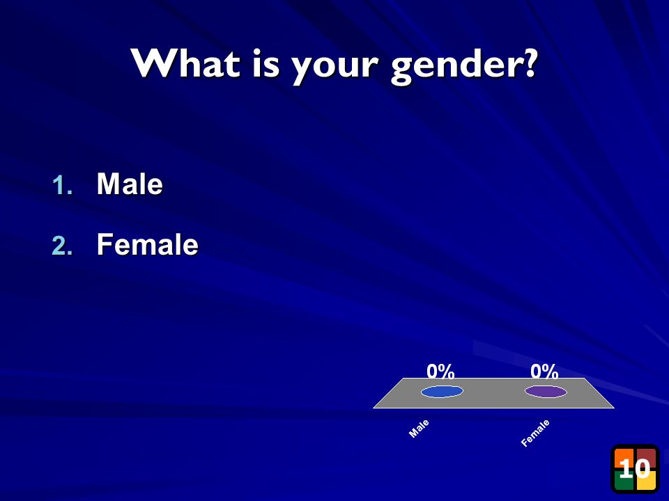 9 What is your gender? 1. Male 2. Female 10