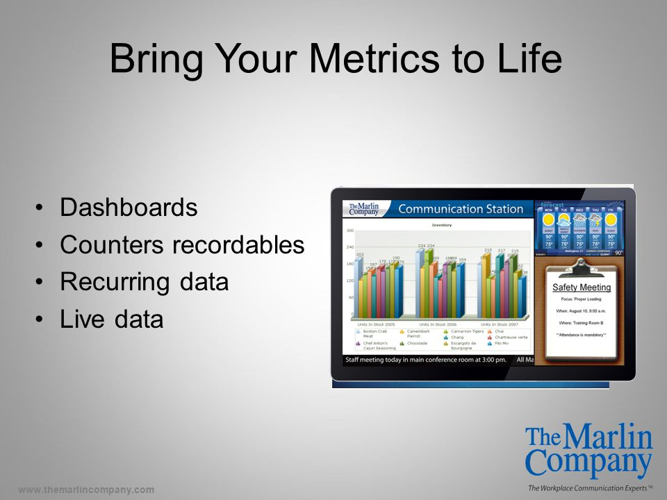 www.themarlincompany.com Bring Your Metrics to Life Dashboards Counters recordables Recurring data Live data