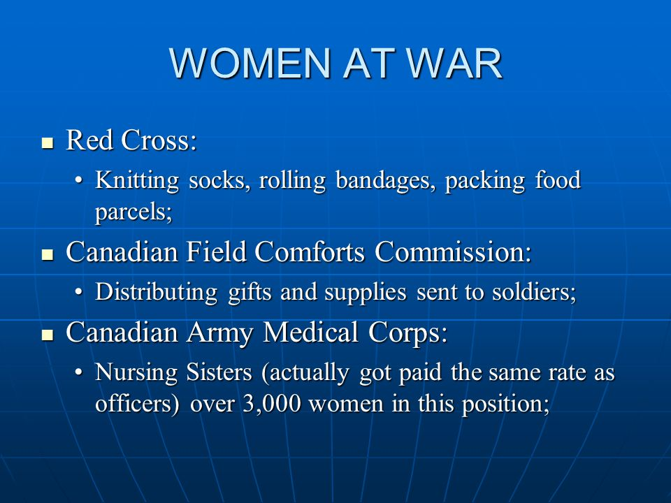 WOMEN AT WAR Red Cross: Red Cross: Knitting socks, rolling bandages, packing food parcels;Knitting socks, rolling bandages, packing food parcels; Canadian Field Comforts Commission: Canadian Field Comforts Commission: Distributing gifts and supplies sent to soldiers;Distributing gifts and supplies sent to soldiers; Canadian Army Medical Corps: Canadian Army Medical Corps: Nursing Sisters (actually got paid the same rate as officers) over 3,000 women in this position;Nursing Sisters (actually got paid the same rate as officers) over 3,000 women in this position;