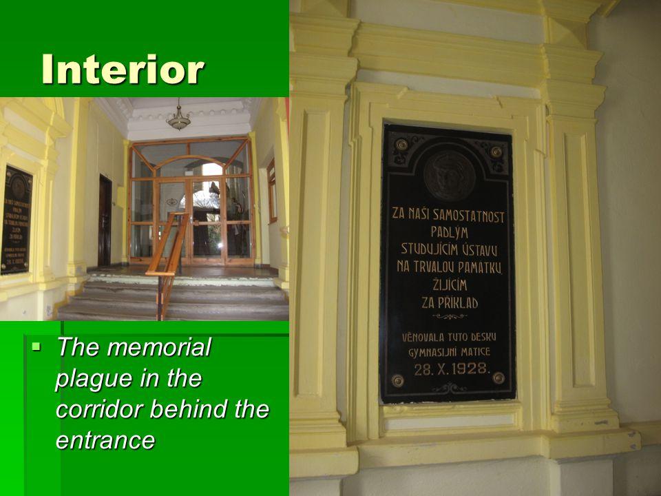 Interior  The memorial plague in the corridor behind the entrance