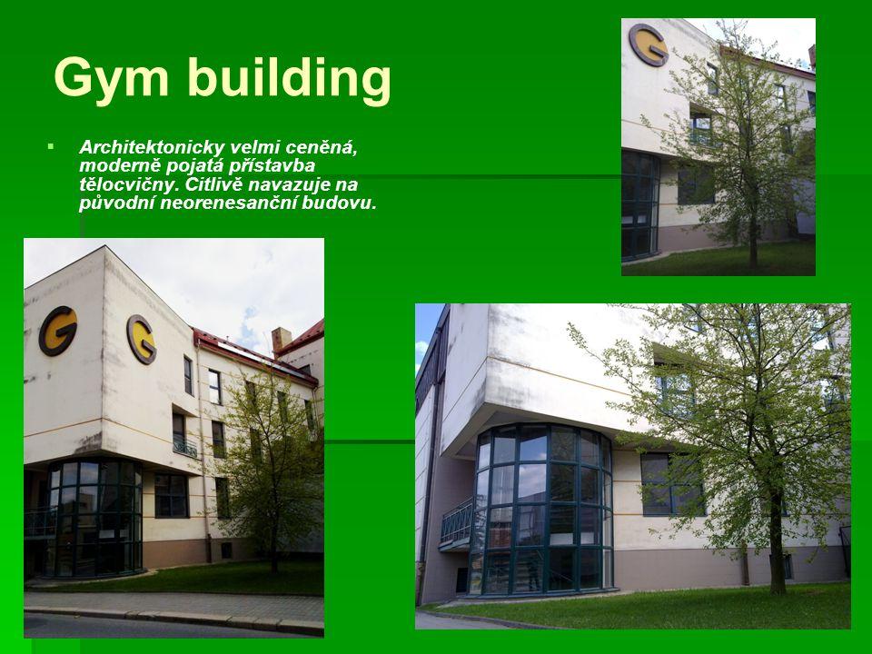 Gym building   Architektonicky velmi ceněná, moderně pojatá přístavba tělocvičny.