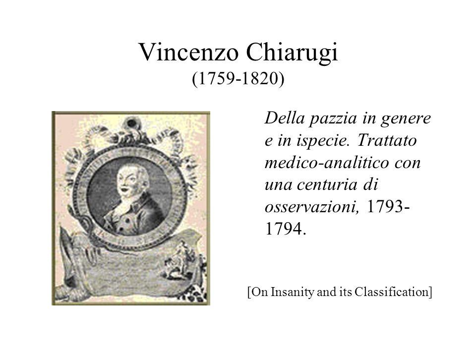 Vincenzo Chiarugi (1759-1820) Della pazzia in genere e in ispecie.