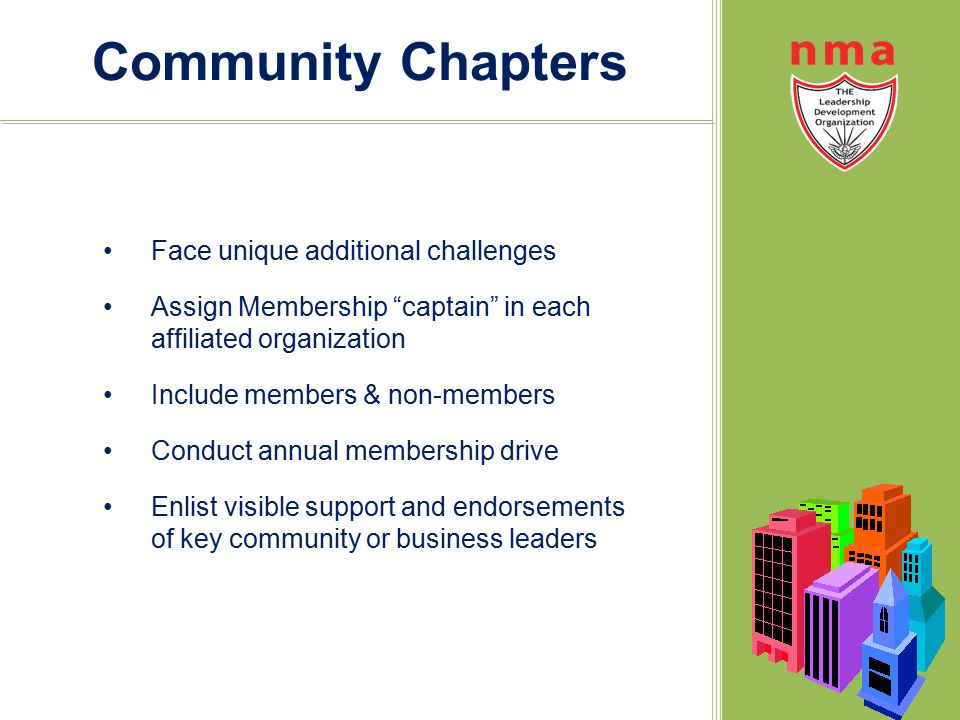 """Community Chapters Face unique additional challenges Assign Membership """"captain"""" in each affiliated organization Include members & non-members Conduct"""