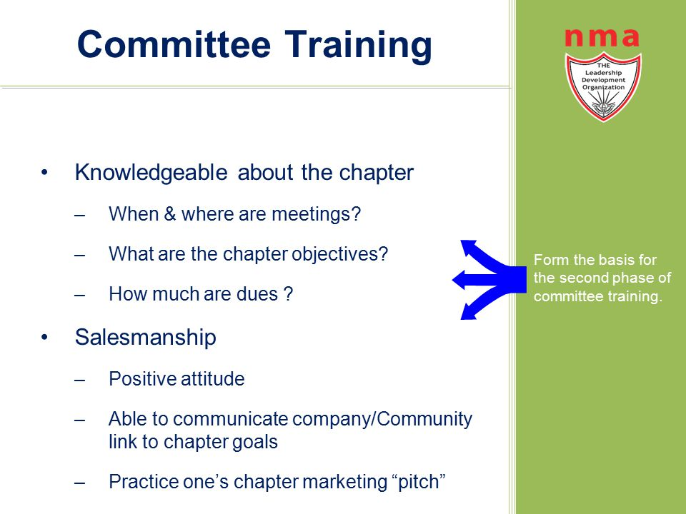 Committee Training Knowledgeable about the chapter –When & where are meetings.
