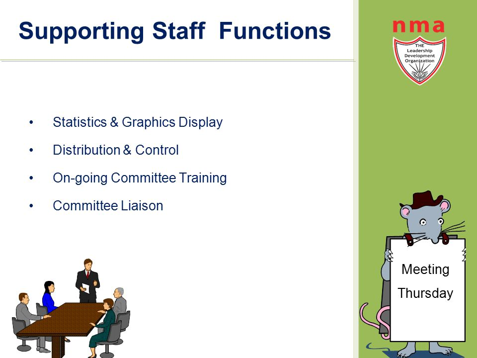 Supporting Staff Functions Statistics & Graphics Display Distribution & Control On-going Committee Training Committee Liaison Meeting Thursday