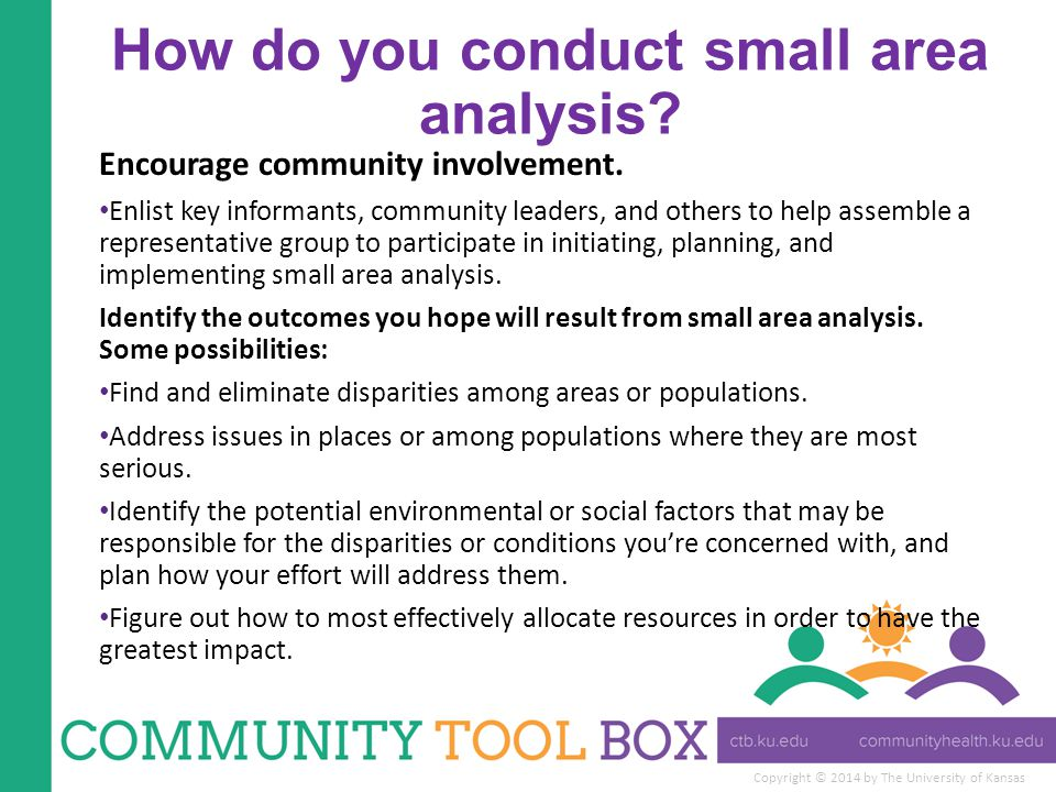 Copyright © 2014 by The University of Kansas How do you conduct small area analysis.