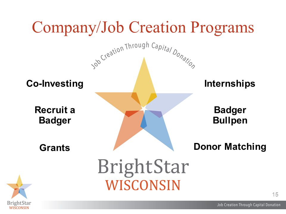 15 Company/Job Creation Programs Co-Investing Grants Internships Donor Matching Recruit a Badger Badger Bullpen