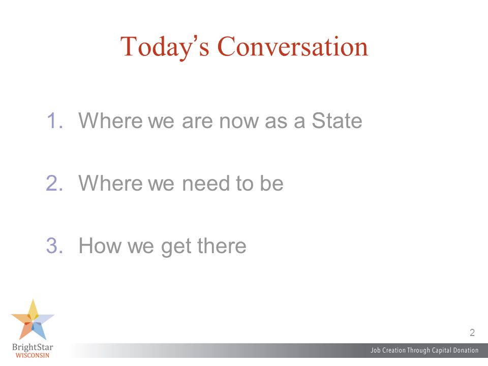 2 Today's Conversation 1.Where we are now as a State 2.Where we need to be 3.How we get there