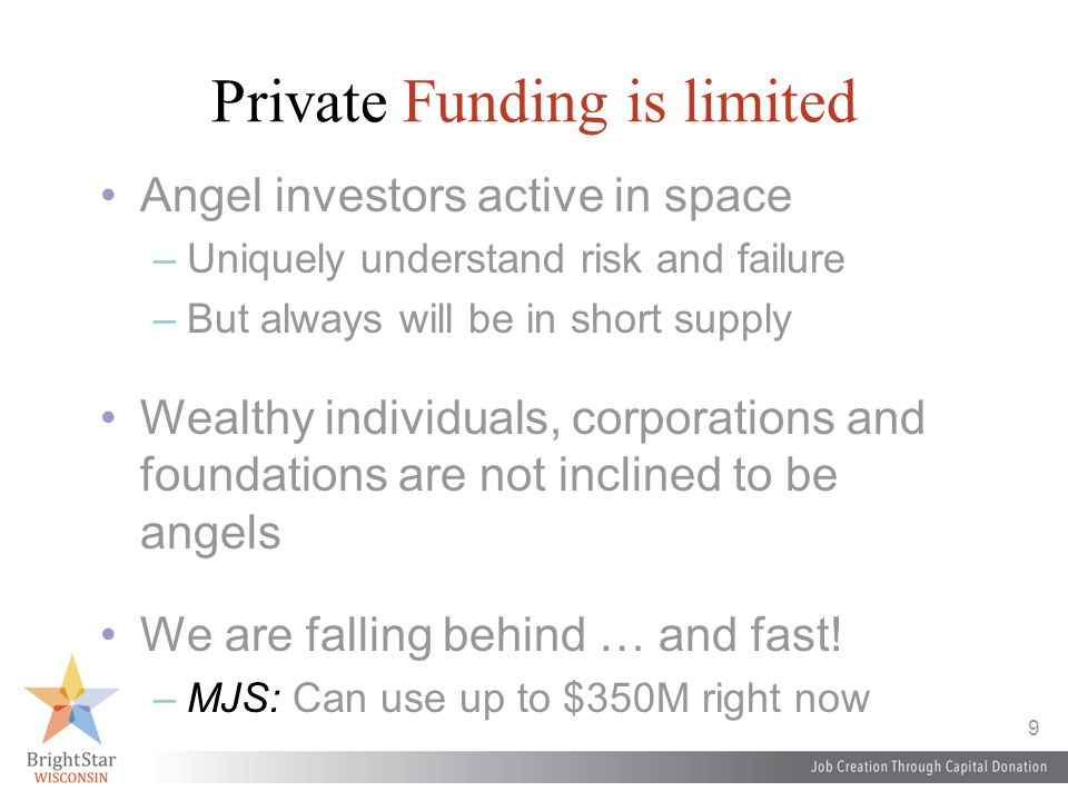 9 Private Funding is limited Angel investors active in space –Uniquely understand risk and failure –But always will be in short supply Wealthy individuals, corporations and foundations are not inclined to be angels We are falling behind … and fast.