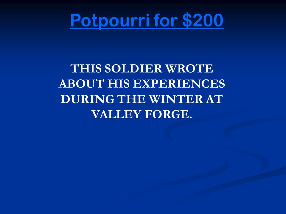 Potpourri for $100 Back to Game THE SHOT HEART 'ROUND THE WORLD