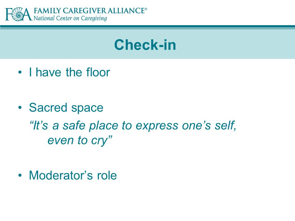 Check-in I have the floor Sacred space It's a safe place to express one's self, even to cry Moderator's role
