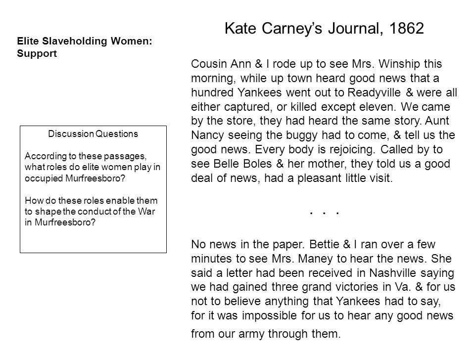 Kate Carney's Journal, 1862 Cousin Ann & I rode up to see Mrs.