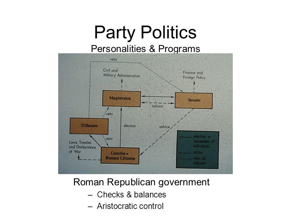 Party Politics Personalities & Programs Roman Republican government –Checks & balances –Aristocratic control