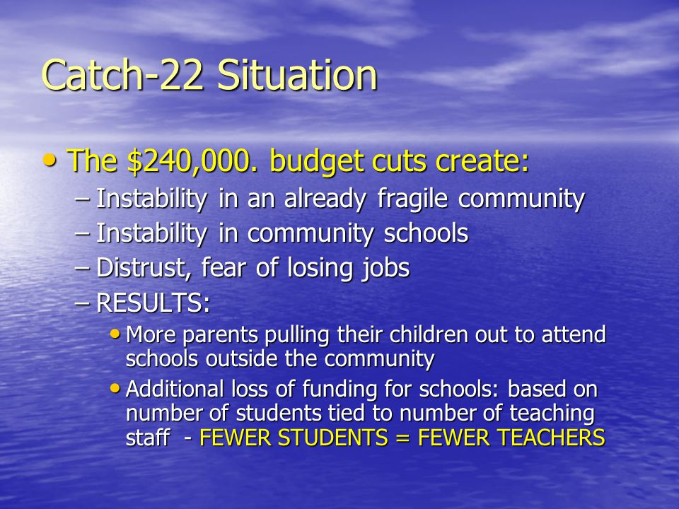 Catch-22 Situation The $240,000. budget cuts create: The $240,000.