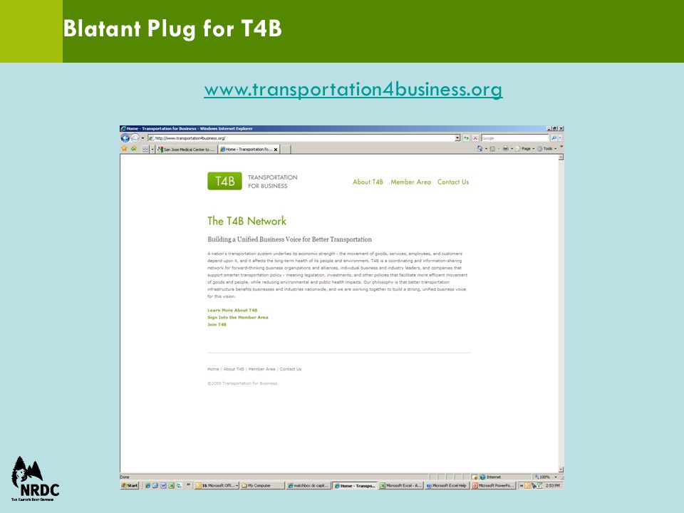 Blatant Plug for T4B www.transportation4business.org