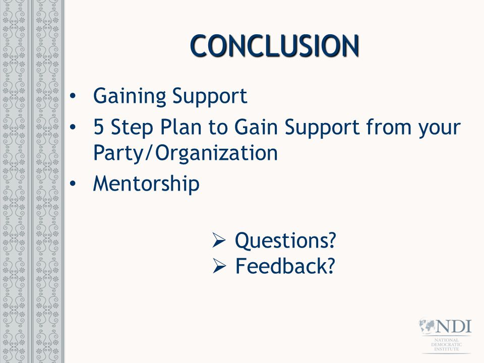 CONCLUSION Gaining Support 5 Step Plan to Gain Support from your Party/Organization Mentorship  Questions?  Feedback?