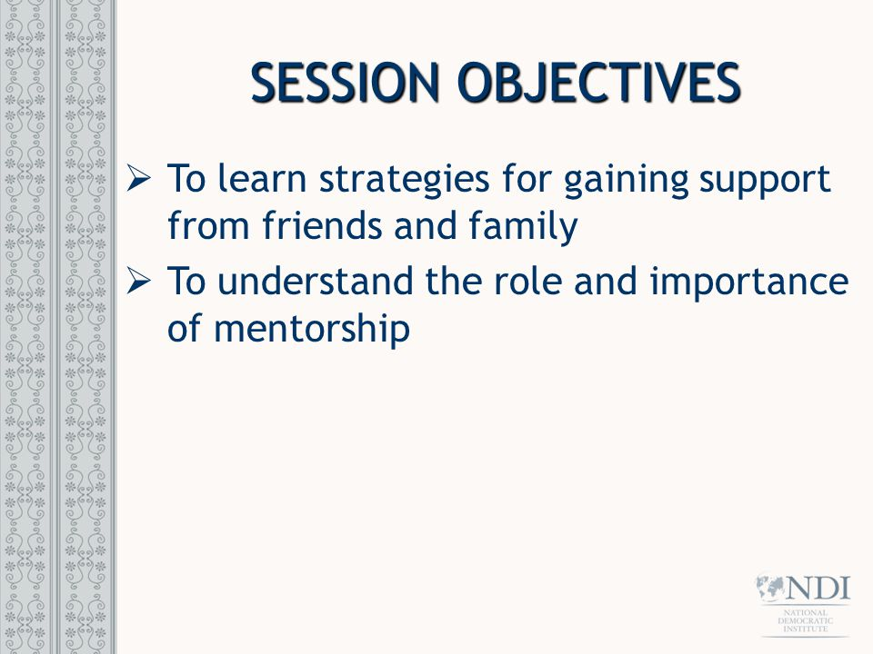 SESSION OBJECTIVES  To learn strategies for gaining support from friends and family  To understand the role and importance of mentorship