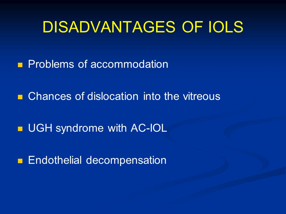 DISADVANTAGES OF IOLS Problems of accommodation Chances of dislocation into the vitreous UGH syndrome with AC-IOL Endothelial decompensation