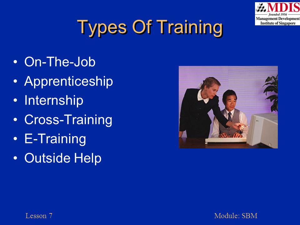 Lesson 7Module: SBM Types Of Training On-The-Job Apprenticeship Internship Cross-Training E-Training Outside Help