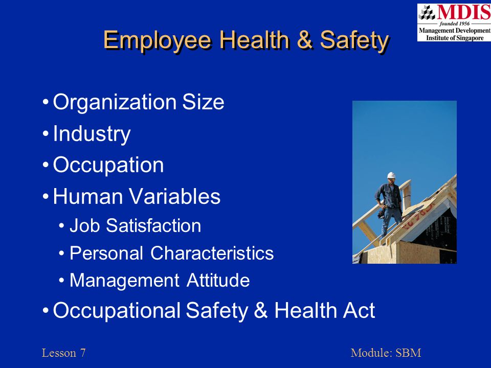 Lesson 7Module: SBM Employee Health & Safety Organization Size Industry Occupation Human Variables Job Satisfaction Personal Characteristics Management Attitude Occupational Safety & Health Act