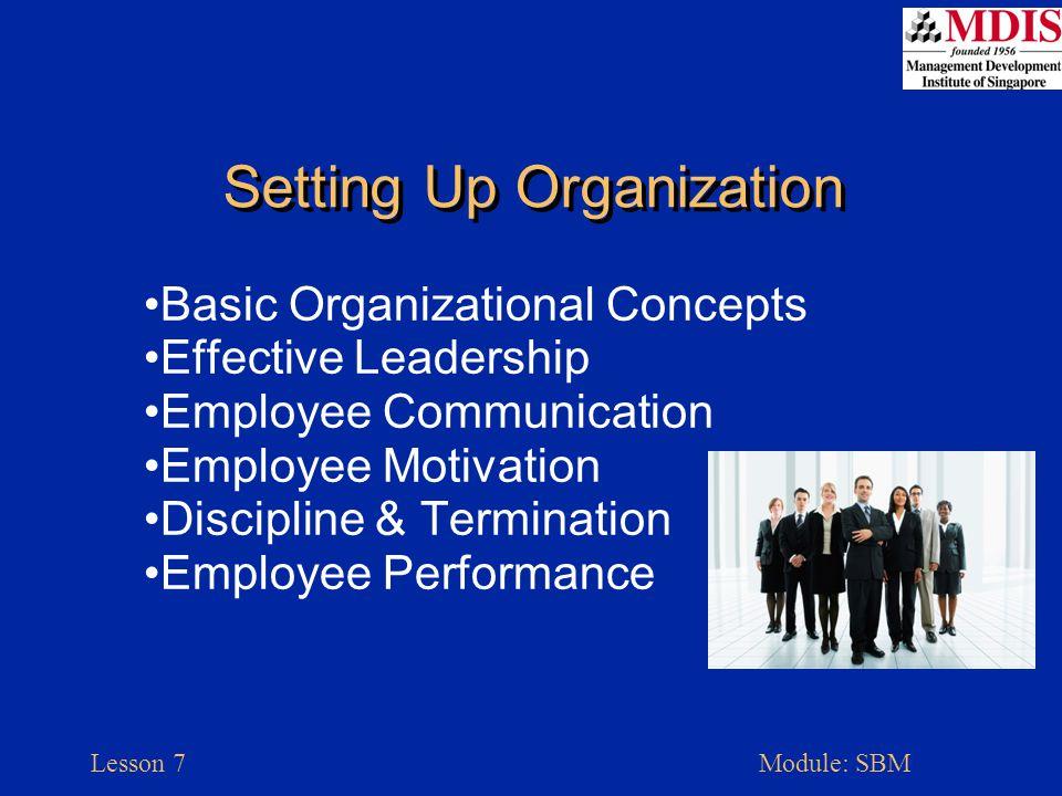 Lesson 7Module: SBM Setting Up Organization Basic Organizational Concepts Effective Leadership Employee Communication Employee Motivation Discipline &