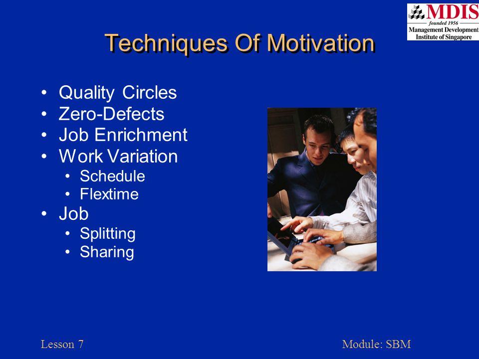 Lesson 7Module: SBM Techniques Of Motivation Quality Circles Zero-Defects Job Enrichment Work Variation Schedule Flextime Job Splitting Sharing