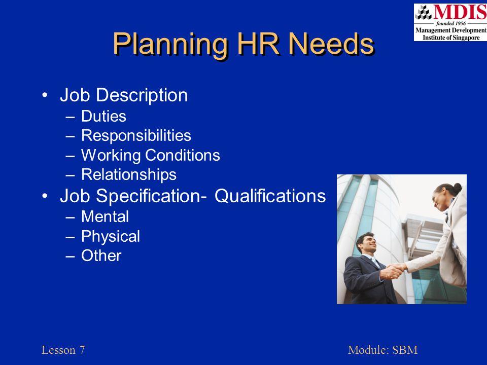 Lesson 7Module: SBM Components: Job Description & Specification Small Business Management, McGraw-Hill, p.237