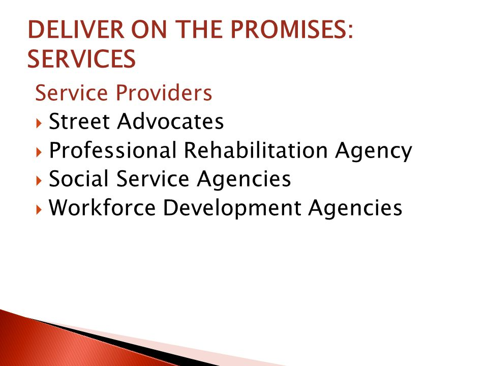 DELIVER ON THE PROMISES: SERVICES Service Providers  Street Advocates  Professional Rehabilitation Agency  Social Service Agencies  Workforce Development Agencies