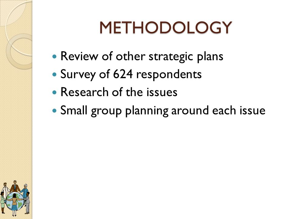 METHODOLOGY Review of other strategic plans Survey of 624 respondents Research of the issues Small group planning around each issue