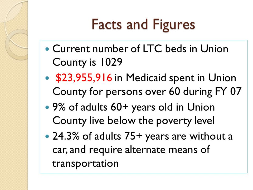 Facts and Figures Current number of LTC beds in Union County is 1029 $23,955,916 in Medicaid spent in Union County for persons over 60 during FY 07 9% of adults 60+ years old in Union County live below the poverty level 24.3% of adults 75+ years are without a car, and require alternate means of transportation