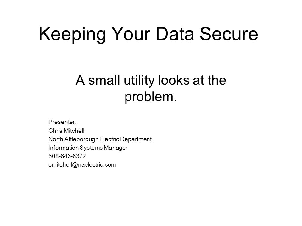 Keeping Your Data Secure A small utility looks at the problem.