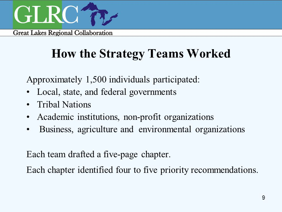 9 How the Strategy Teams Worked Approximately 1,500 individuals participated: Local, state, and federal governments Tribal Nations Academic institutio