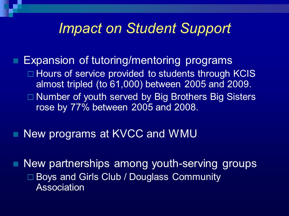Expansion of tutoring/mentoring programs  Hours of service provided to students through KCIS almost tripled (to 61,000) between 2005 and 2009.
