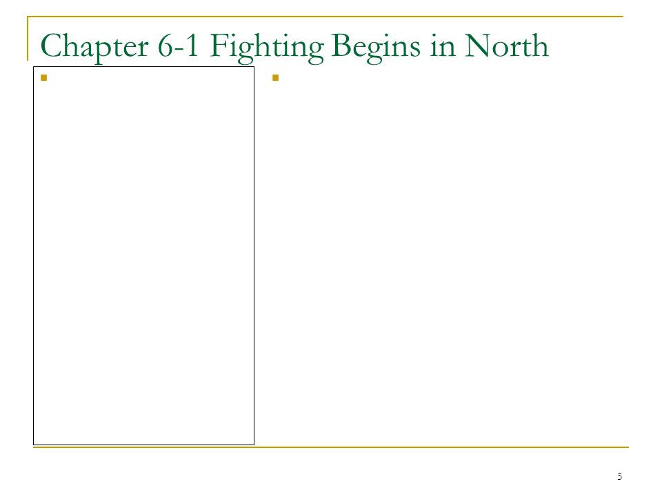 5 Chapter 6-1 Fighting Begins in North