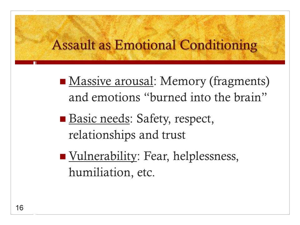 Massive arousal: Memory (fragments) and emotions burned into the brain Basic needs: Safety, respect, relationships and trust Vulnerability: Fear, helplessness, humiliation, etc.