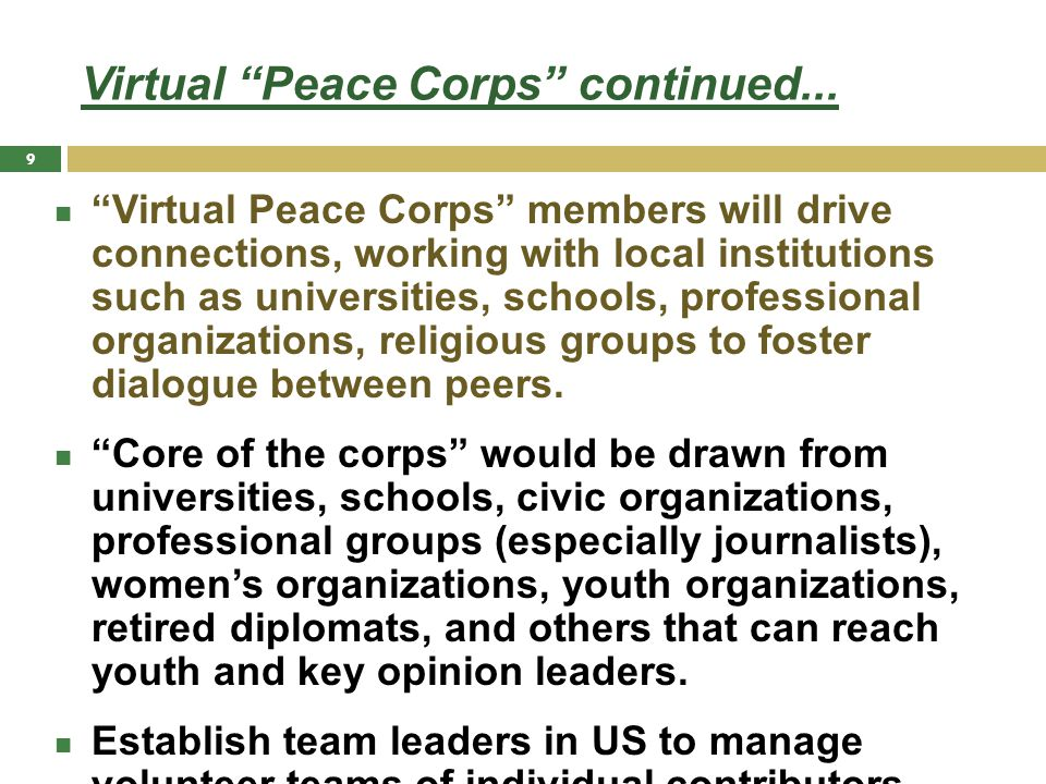 Virtual Peace Corps continued...